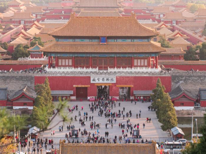 PLano de la ciudad de Beijing durante el rodaje como productora audiovisual de viajes