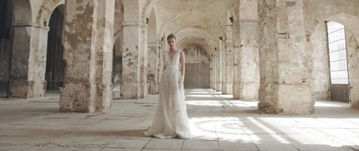 Colección nupcial de Fernando Claro en el rodaje que hicimos como productora audiovisual de moda