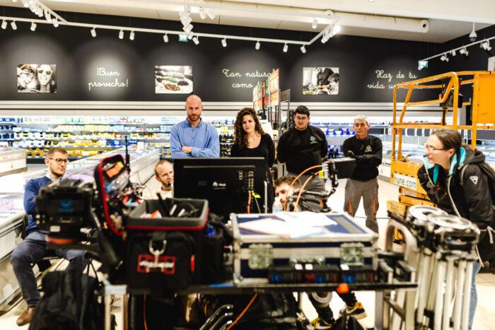 Equipo de rodaje del spot de Lidl como productora audiovisual alimentacion