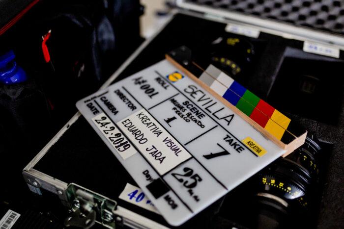 Claqueta durante el rodaje del spot de Lidl como productora audiovisual alimentacion