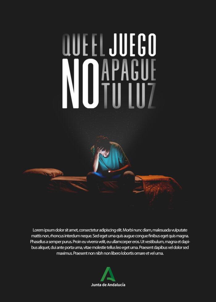 Cartel para el proyecto Que el juego no apague tu luz como publicidad institucional andalucía